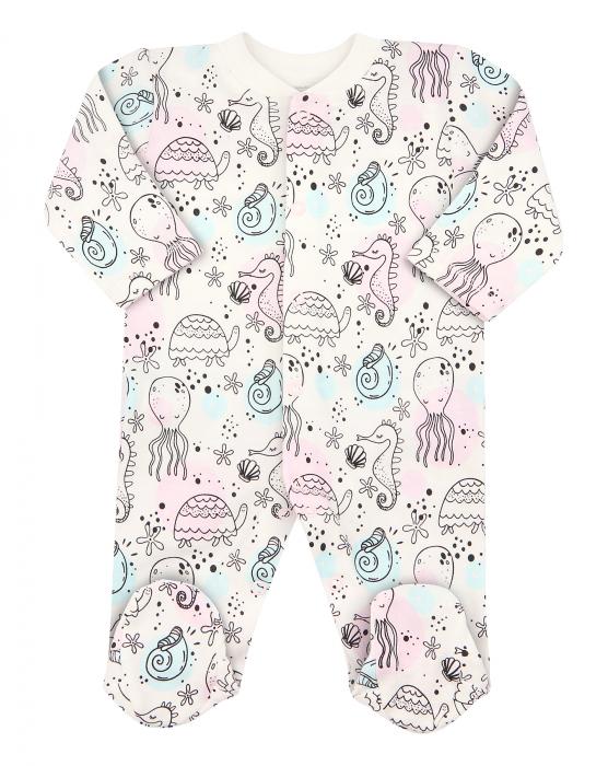 Pijama tip salopeta intreaga cu talpa, bumbac organic100%, fete, Alb/Roz, Sea 0
