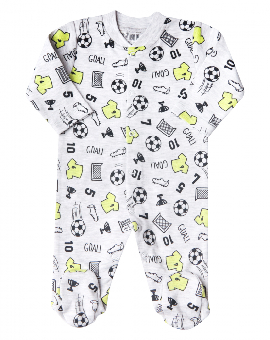 Pijama tip salopeta intreaga cu talpa, Gri/Fotbal 0