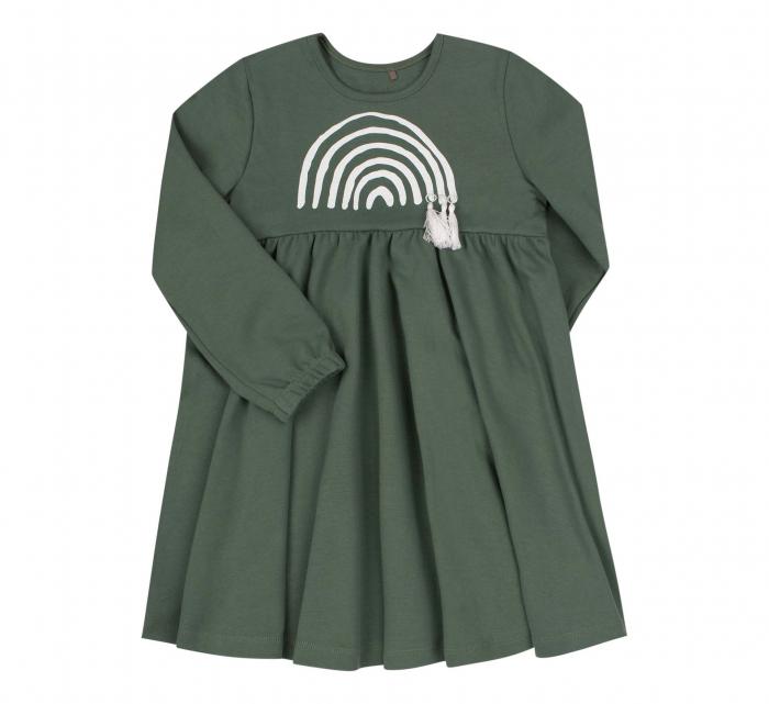 Rochie cu maneca lunga, bumbac 100%, Verde [0]