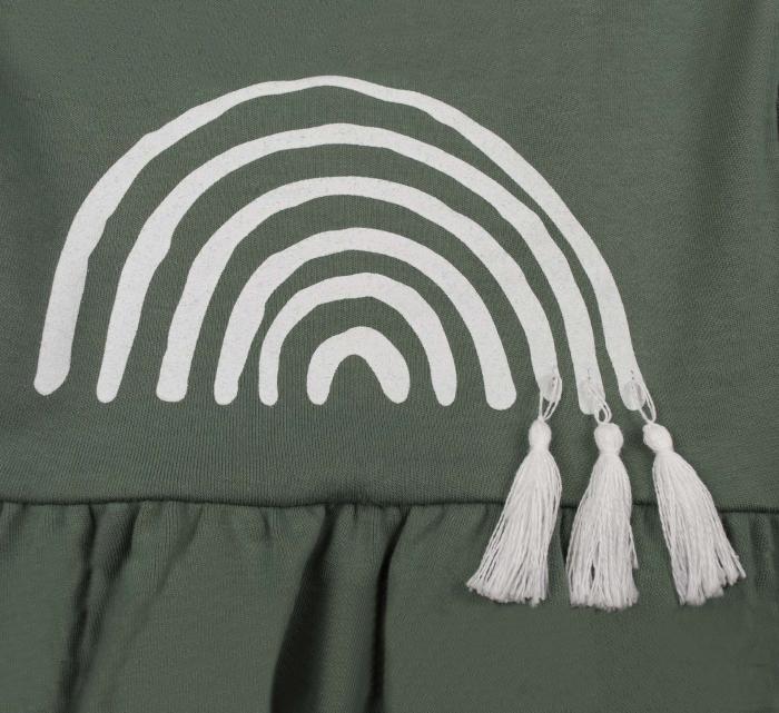 Rochie cu maneca lunga, bumbac 100%, Verde [2]