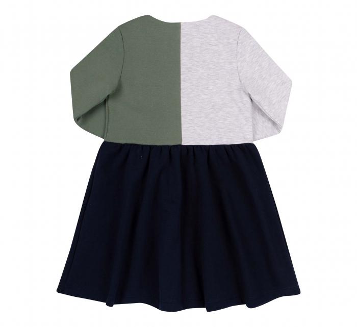 Rochie cu maneca lunga, Bleumarin/Verde/Gri [2]