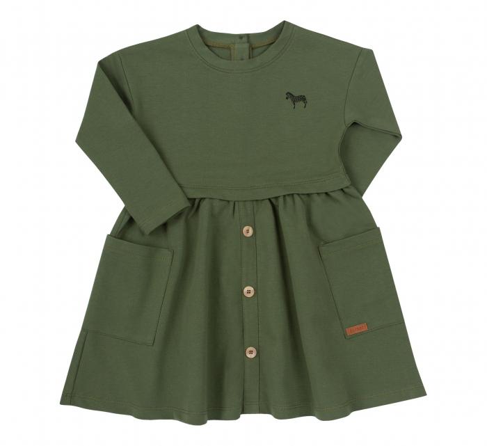 Rochie cu maneca lunga si buzunare, bumbac 100%, Verde, Safary [0]