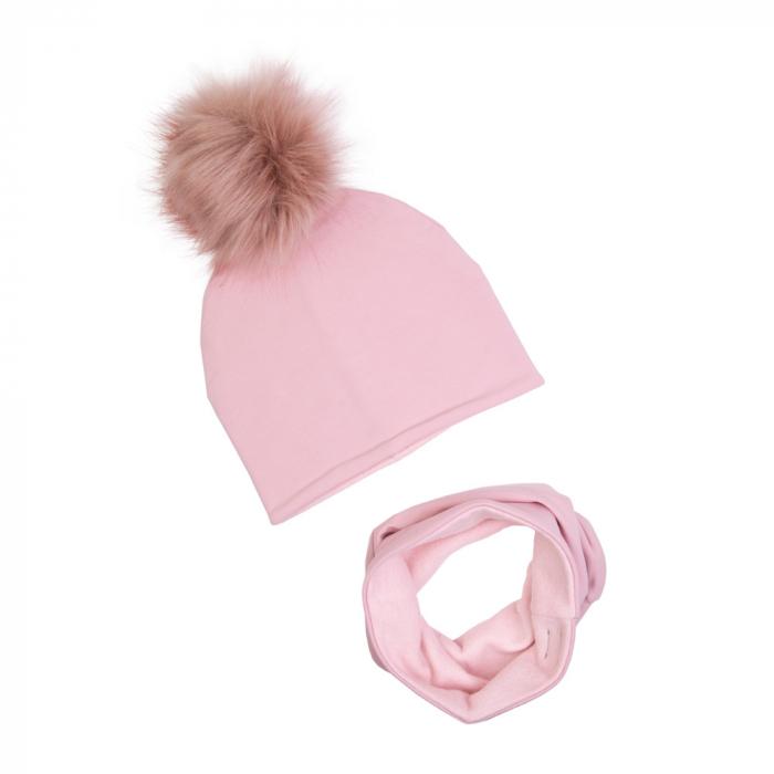 Set iarna, caciula cu pompom si tub, fete, Pink 0