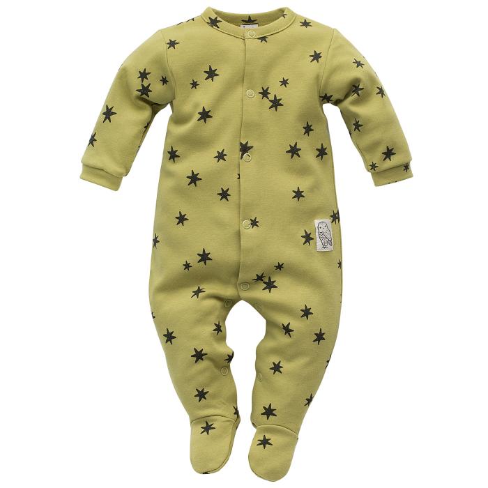 Pijama  intreaga cu talpa, unisex, bumbac 100%, Verde kaki/Stelute, Stay Green 0