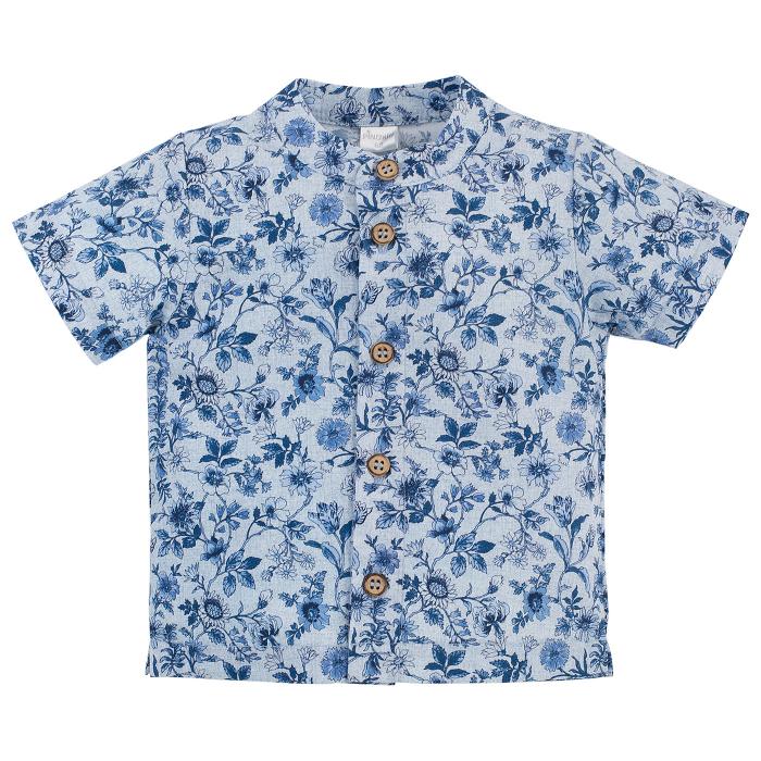 Camasa cu maneca scurta, bumbac 100%, baieti, Albastru/Flori, Summertime [0]