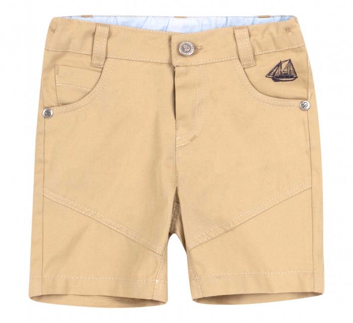 Pantalon casual 3/4 cu buzunare, bumbac 100%, baieti, Bej/Vaporas [0]