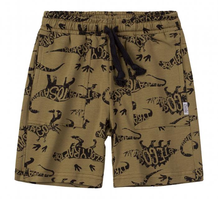 Pantalon scurt 3/4 cu buzunare, baieti, Kaki/Dinozauri [0]