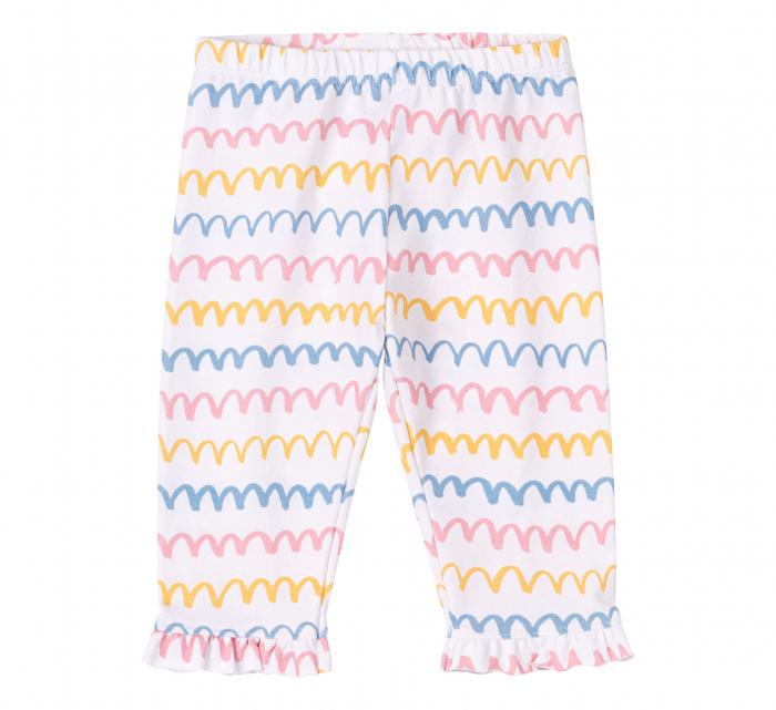 "Pantalon ""leggings"" 3/4, bumbac 100%, fete, Alb/Dungi colorate [0]"