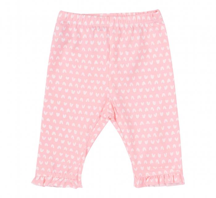 """Pantalon """"leggings"""", 3/4, bumbac 100%, fete, Roz/Inimioare [0]"""