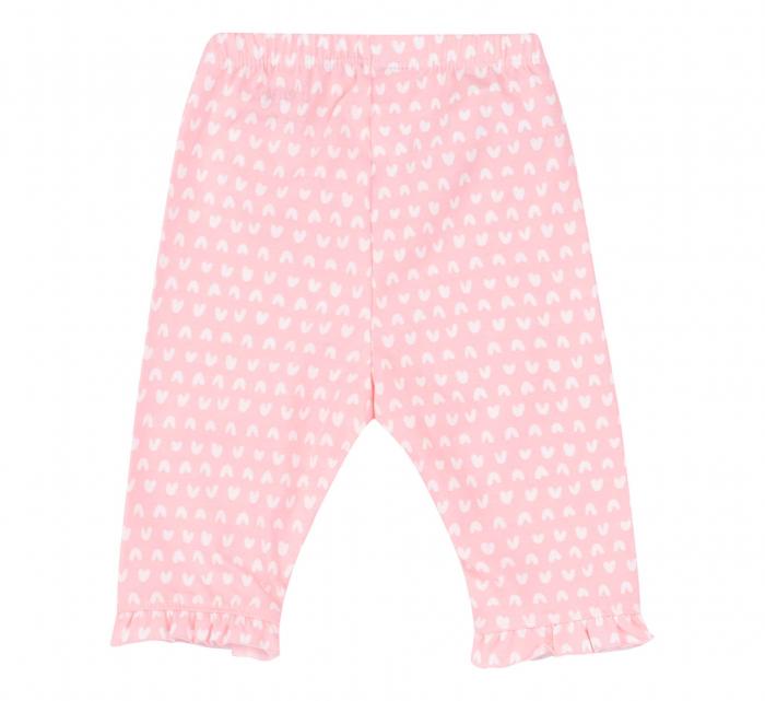"""Pantalon """"leggings"""", 3/4, bumbac 100%, fete, Roz/Inimioare [1]"""