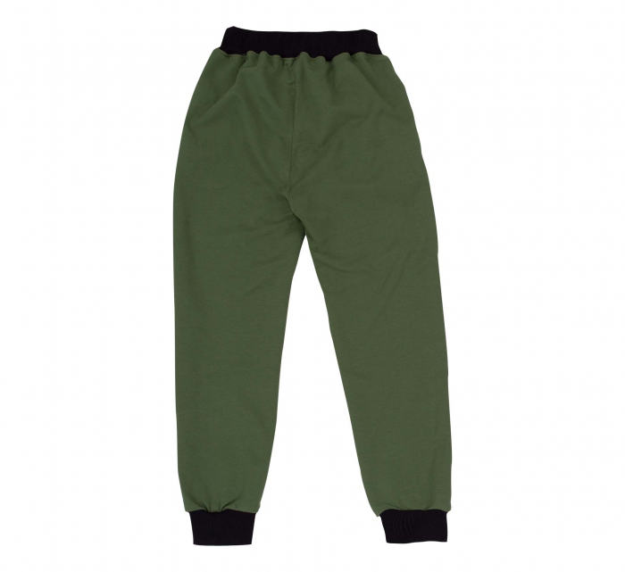 Pantalon trening cu buzunare, bumbac 100%, Verde, Safary [1]