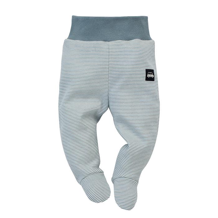 Pantalon tip pijama cu talpa, baieti, bumbac100%, Alb/Dungi, Little Car 0