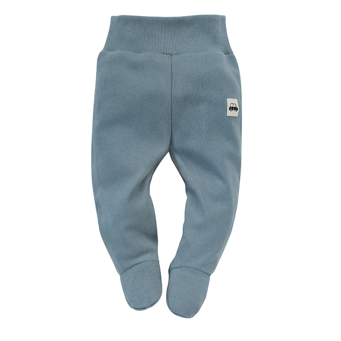 Pantalon tip pijama cu talpa, baieti, bumbac100%, Albastru, Little Car 0