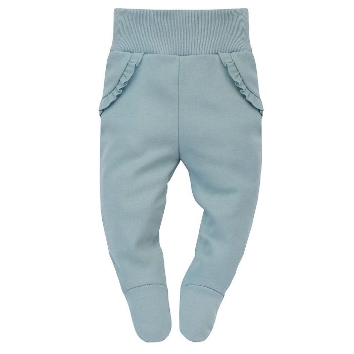 Pantalon tip pijama cu talpa, volanase, bumbac 100%, fete, Verde pal,  My Garden [0]