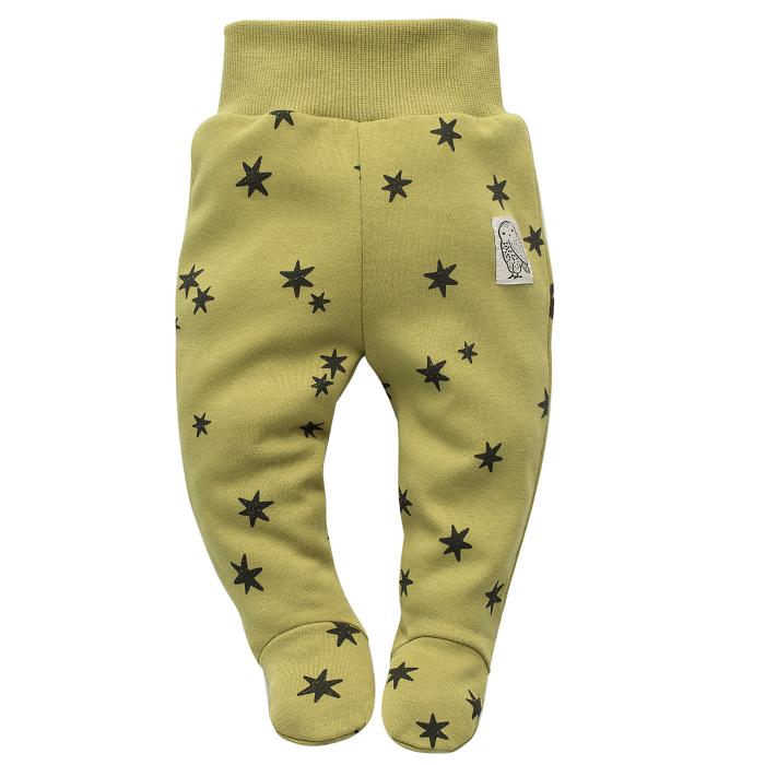 Pantalon tip pijama cu talpa, unisex, bumbac 100%, Verde kaki/Stelute, Stay Green [0]