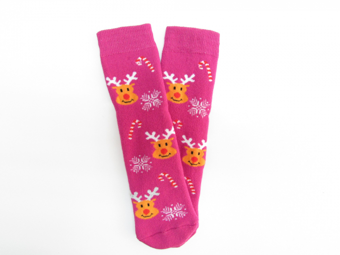 Sosete groase de iarna, fete, Roz cu reni 0