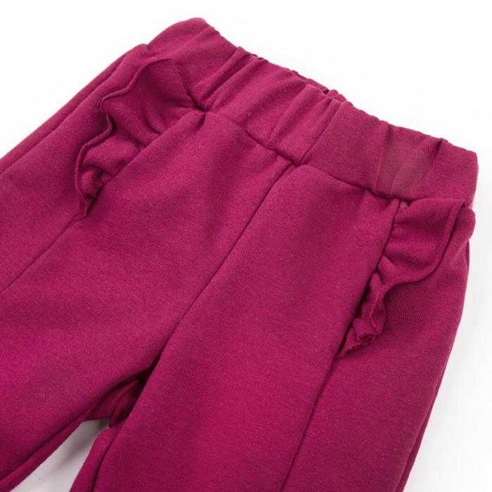 Pantalon lung cu volanase, bumbac 100%, fete, Bordo, Simply Comfy [2]