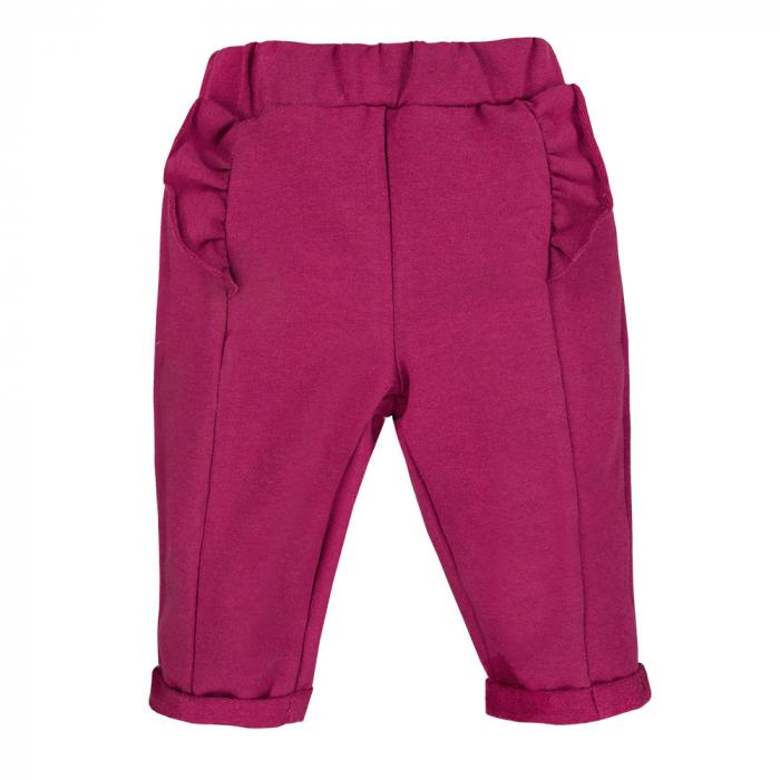 Pantalon lung cu volanase, bumbac 100%, fete, Bordo, Simply Comfy [0]