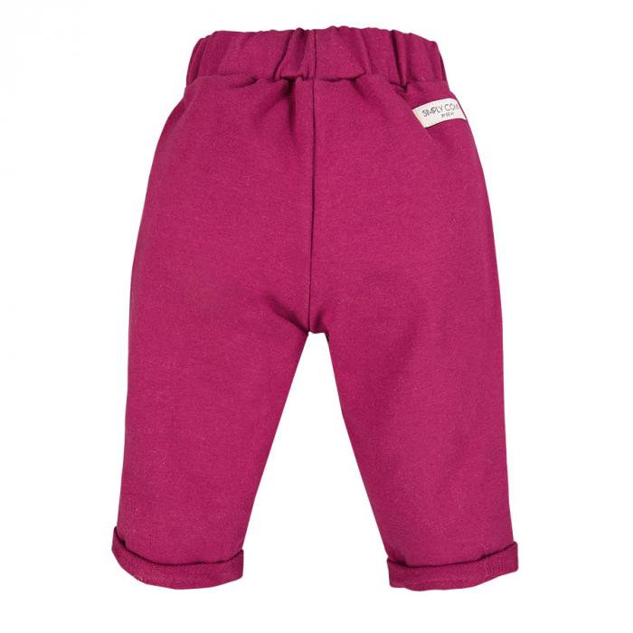 Pantalon lung cu volanase, bumbac 100%, fete, Bordo, Simply Comfy [1]