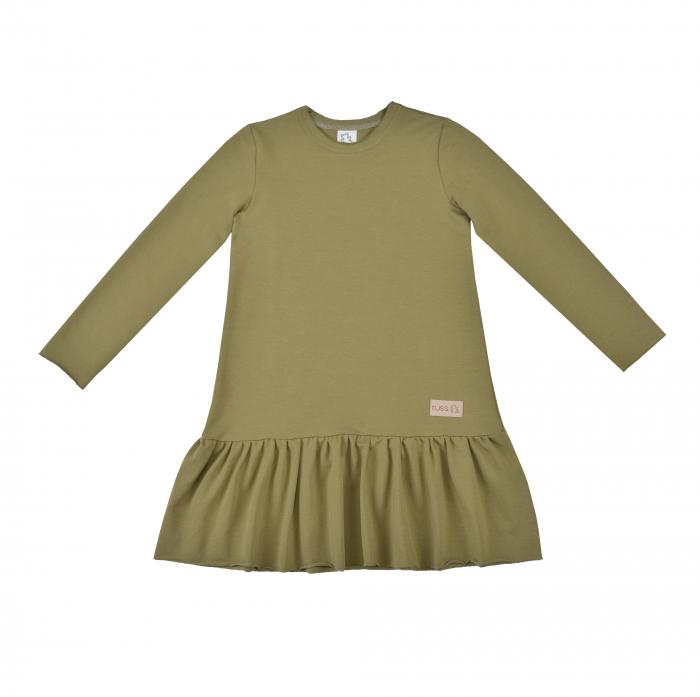 Rochie cu maneca lunga, Verde/Kaki 0