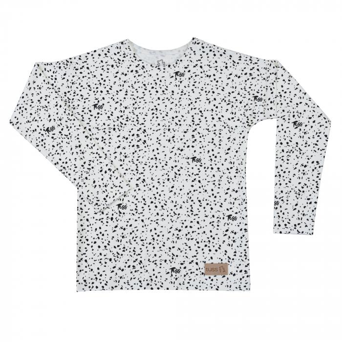 Bluza cu maneca lunga, unisex, Alb/Picatele negre 0