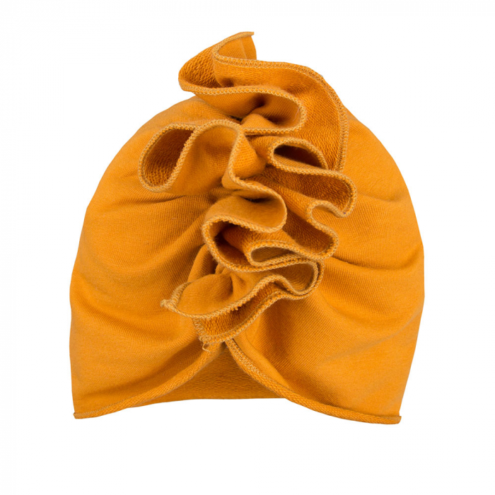 Caciula bebe tip turban, bumbac 100%, fete, Galben Mustar, Simply Comfy 0