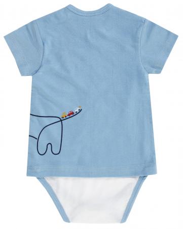 Body cu maneca scurta, dublat tip tricou, bumbac 100%, Albastru/Alb, Happy Car Friends [1]