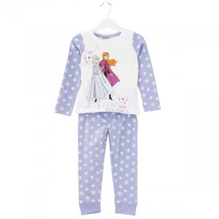 Pijama cu maneca lunga, doua piese, bumbac 100%, fete, Alb/Mov, Frozen0