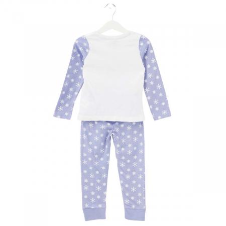 Pijama cu maneca lunga, doua piese, bumbac 100%, fete, Alb/Mov, Frozen1