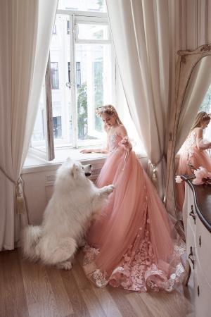 Rochie eleganta cu trena, Tull, Roz pal [4]