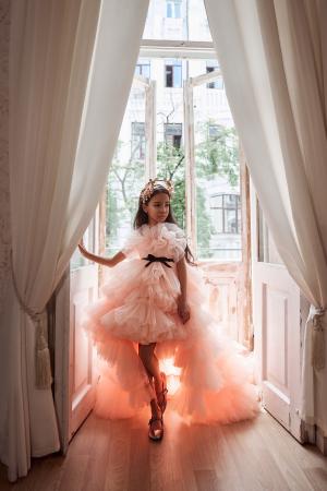 Rochie eleganta cu trena, Tull, Piersica [3]