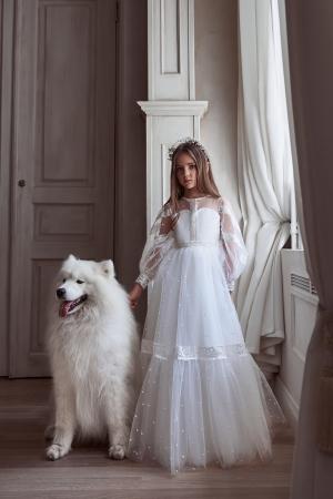 Rochie eleganta lunga,Tull/Broderie, Ivory [1]