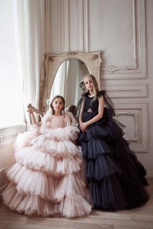 Rochie eleganta lunga, volane, Tull, Roz [1]