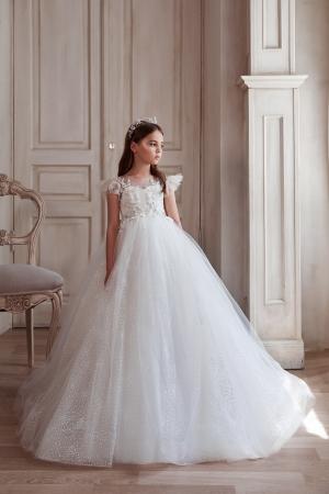 Rochie eleganta lunga, Dantela, Alba [3]