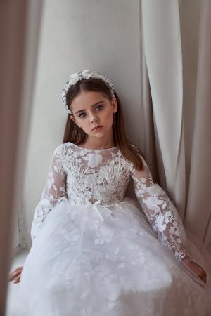 Rochie eleganta, lunga, Dantela/Broderie, Alba [1]