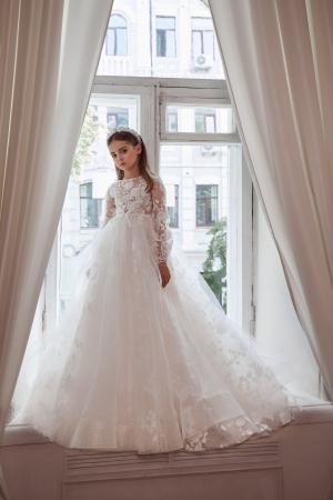 Rochie eleganta, lunga, Dantela/Broderie, Alba [2]
