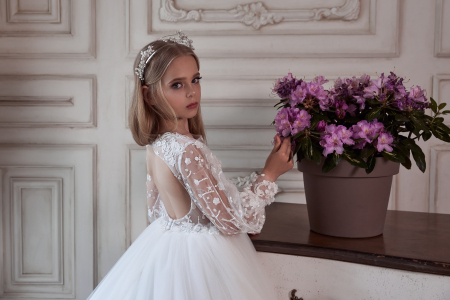Rochie eleganta lunga cu trena, Dantela, Alba [2]