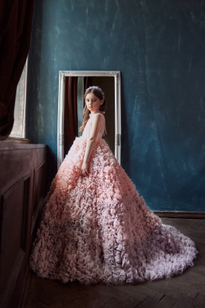 Rochie eleganta lunga, Tull, Roz pudra [1]