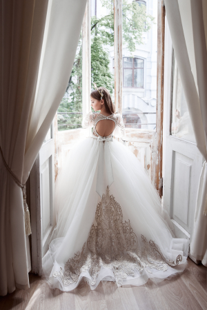 Rochie eleganta lunga, Tull/Broderie, Alb/Ivory [0]
