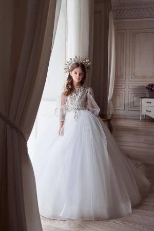 Rochie eleganta lunga, Tull/Broderie, Alb/Ivory [2]