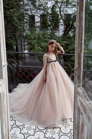Rochie eleganta lunga cu trena, Tull, Roz pudra [4]