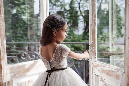 Rochie eleganta lunga, Dantela, Ivory [3]