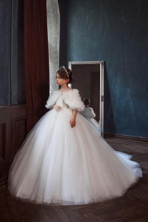 Rochie eleganta lunga, Tull/Broderie, Alba [0]