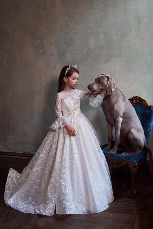 Rochie eleganta lunga, Dantela/Broderie, Alba [0]