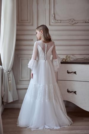 Rochie eleganta lunga, Voal, Alba [2]