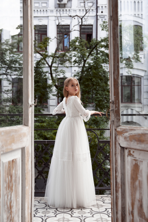Rochie eleganta lunga, Voal/Broderie, Alba [3]