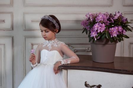 Rochie eleganta lunga, Voal/Broderie,Alba [2]