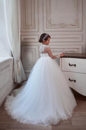 Rochie eleganta lunga, Voal/Broderie,Alba [3]