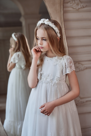 Rochie eleganta lunga, Dantela, Alba [0]