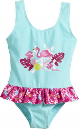 Costum de baie intreg, protectie UV 50+_fete_Turcoise/Flamingo0